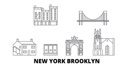 United States, New York Brooklyn line travel skyline set. United States, New York Brooklyn outline city vector panorama, illustration, travel sights, landmarks, streets.