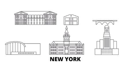 United States, New York Buffalo line travel skyline set. United States, New York Buffalo outline city vector panorama, illustration, travel sights, landmarks, streets.