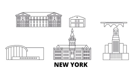 United States, New York Buffalo line travel skyline set. United States, New York Buffalo outline city vector panorama, illustration, travel sights, landmarks, streets.