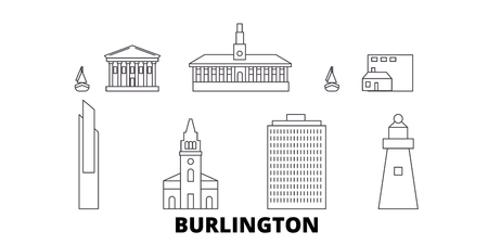 United States, Burlington line travel skyline set. United States, Burlington outline city vector panorama, illustration, travel sights, landmarks, streets.