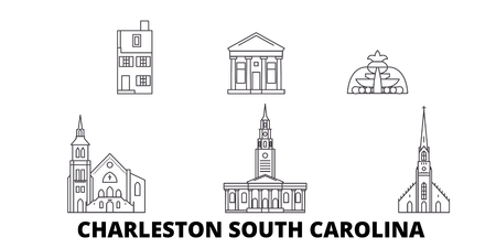 United States, Charleston South Carolina line travel skyline set. United States, Charleston South Carolina outline city vector panorama, illustration, travel sights, landmarks, streets.