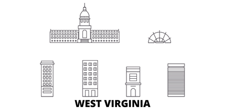 United States, Charleston West Virginia line travel skyline set. United States, Charleston West Virginia outline city vector panorama, illustration, travel sights, landmarks, streets.