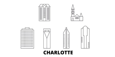 United States, Charlotte line travel skyline set. United States, Charlotte outline city vector panorama, illustration, travel sights, landmarks, streets.
