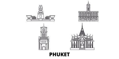 Thailand, Phuket line travel skyline set. Thailand, Phuket outline city vector panorama, illustration, travel sights, landmarks, streets. Illustration