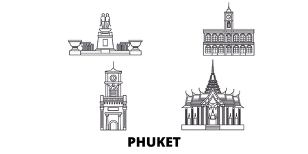 Thailand, Phuket line travel skyline set. Thailand, Phuket outline city vector panorama, illustration, travel sights, landmarks, streets.