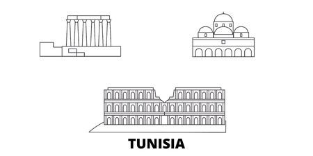 Tunisia line travel skyline set. Tunisia outline city vector panorama, illustration, travel sights, landmarks, streets. Illustration