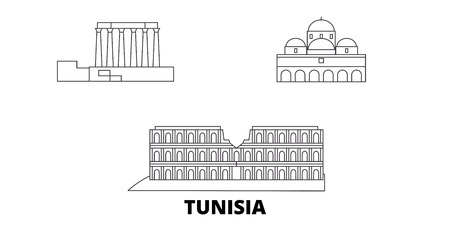 Tunisia line travel skyline set. Tunisia outline city vector panorama, illustration, travel sights, landmarks, streets. Banque d'images - 120656175