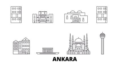Turkey, Ankara line travel skyline set. Turkey, Ankara outline city vector panorama, illustration, travel sights, landmarks, streets.