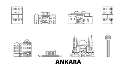 Turkey, Ankara line travel skyline set. Turkey, Ankara outline city vector panorama, illustration, travel sights, landmarks, streets.
