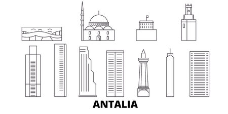 Turkey, Antalia line travel skyline set. Turkey, Antalia outline city vector panorama, illustration, travel sights, landmarks, streets. Illustration