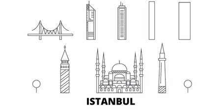 Turkey, Istanbul line travel skyline set. Turkey, Istanbul outline city vector panorama, illustration, travel sights, landmarks, streets.