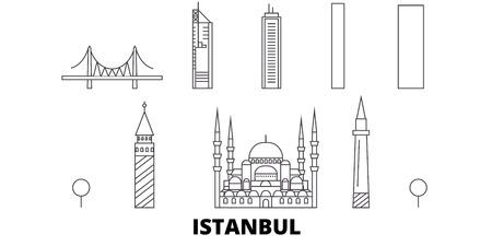 Turkey, Istanbul line travel skyline set. Turkey, Istanbul outline city vector panorama, illustration, travel sights, landmarks, streets.