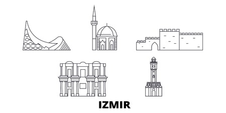 Turkey, Izmir line travel skyline set. Turkey, Izmir outline city vector panorama, illustration, travel sights, landmarks, streets.