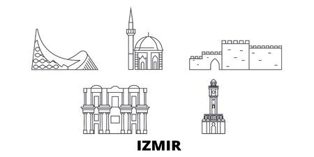 Turkey, Izmir line travel skyline set. Turkey, Izmir outline city vector panorama, illustration, travel sights, landmarks, streets. 免版税图像 - 120656178