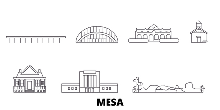 United States, Mesa line travel skyline set. United States, Mesa outline city vector panorama, illustration, travel sights, landmarks, streets.