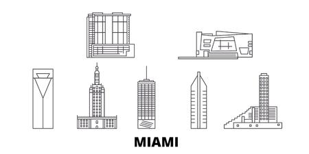 United States, Miami line travel skyline set. United States, Miami outline city vector panorama, illustration, travel sights, landmarks, streets.