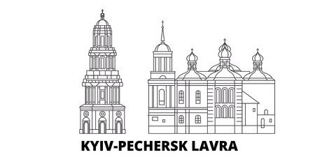 Ucrania, Kiev, Pechersk Lavra línea horizonte de viaje. Ucrania, Kiev, Pechersk Lavra esquema panorama vectorial de la ciudad, ilustración, lugares turísticos, monumentos, calles.