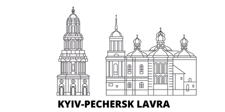Ukraine, Kyiv, Pechersk Lavra line travel skyline set. Ukraine, Kyiv, Pechersk Lavra outline city vector panorama, illustration, travel sights, landmarks, streets.