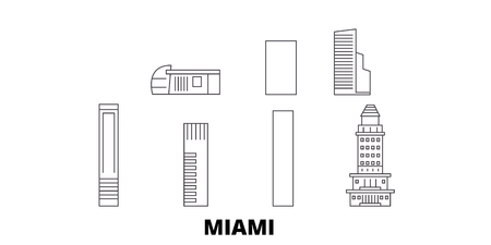 United States, Miami City line travel skyline set. United States, Miami City outline city vector panorama, illustration, travel sights, landmarks, streets. Illustration