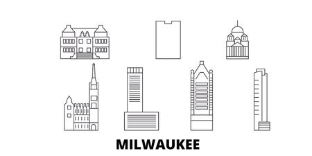 United States, Milwaukee City line travel skyline set. United States, Milwaukee City outline city vector panorama, illustration, travel sights, landmarks, streets.