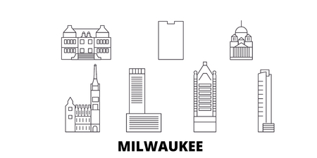United States, Milwaukee City line travel skyline set. United States, Milwaukee City outline city vector panorama, illustration, travel sights, landmarks, streets.