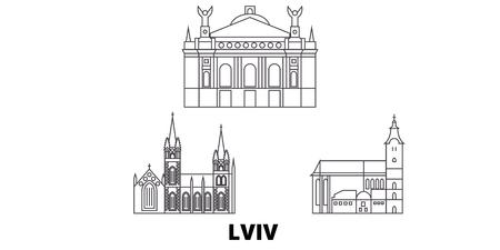 Ucrania, Lviv, la línea del horizonte de viaje. Ucrania, Lviv, panorama de vector de ciudad de contorno, ilustración, lugares turísticos, monumentos, calles. Ilustración de vector