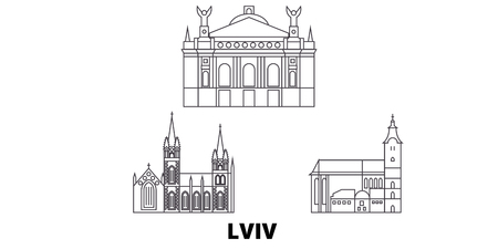 Ukraine, Lviv line travel skyline set. Ukraine, Lviv outline city vector panorama, illustration, travel sights, landmarks, streets. Stock fotó - 120656190