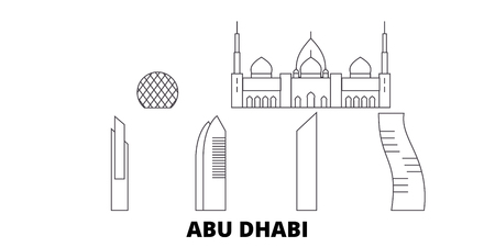 Los Emiratos Árabes Unidos, la ciudad de Abu Dhabi, la línea del horizonte de viaje. Los Emiratos Árabes Unidos, la ciudad de Abu Dhabi, resumen el panorama vectorial de la ciudad, ilustración, lugares turísticos, monumentos, calles.