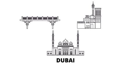 United Arab Emirates, Dubai line travel skyline set. United Arab Emirates, Dubai outline city vector panorama, illustration, travel sights, landmarks, streets.