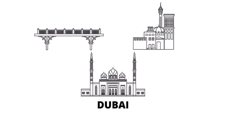 United Arab Emirates, Dubai line travel skyline set. United Arab Emirates, Dubai outline city vector panorama, illustration, travel sights, landmarks, streets. Imagens - 123897201