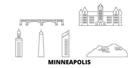 United States, Minneapolis line travel skyline set. United States, Minneapolis outline city vector panorama, illustration, travel sights, landmarks, streets.