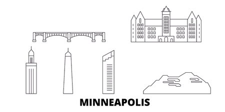 United States, Minneapolis line travel skyline set. United States, Minneapolis outline city vector panorama, illustration, travel sights, landmarks, streets.