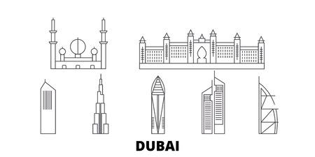 Los Emiratos Árabes Unidos, la ciudad de Dubai, la línea del horizonte de viaje. Los Emiratos Árabes Unidos, la ciudad de Dubai, el panorama vectorial de la ciudad de contorno, la ilustración, los lugares turísticos, los monumentos, las calles.