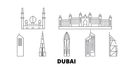 United Arab Emirates, Dubai City line travel skyline set. United Arab Emirates, Dubai City outline city vector panorama, illustration, travel sights, landmarks, streets.