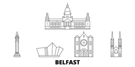 United Kingdom, Belfast line travel skyline set. United Kingdom, Belfast outline city vector panorama, illustration, travel sights, landmarks, streets.