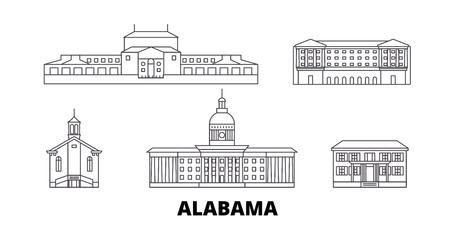 United States, Montgomery line travel skyline set. United States, Montgomery outline city vector panorama, illustration, travel sights, landmarks, streets.