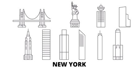 United States, New York City line travel skyline set. United States, New York City outline city vector panorama, illustration, travel sights, landmarks, streets.