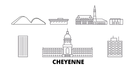 United States, Cheyenne line travel skyline set. United States, Cheyenne outline city vector panorama, illustration, travel sights, landmarks, streets.