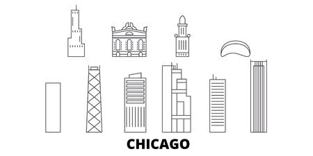 United States, Chicago line travel skyline set. United States, Chicago outline city vector panorama, illustration, travel sights, landmarks, streets. Illustration