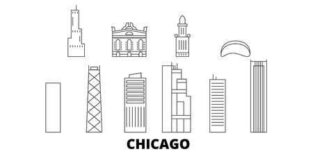 United States, Chicago line travel skyline set. United States, Chicago outline city vector panorama, illustration, travel sights, landmarks, streets.  イラスト・ベクター素材