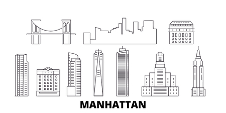 United States, New York Manhattan line travel skyline set. United States, New York Manhattan outline city vector panorama, illustration, travel sights, landmarks, streets.