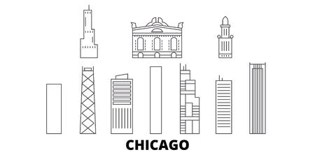 United States, Chicago City line travel skyline set. United States, Chicago City outline city vector panorama, illustration, travel sights, landmarks, streets. Illustration