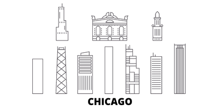 United States, Chicago City line travel skyline set. United States, Chicago City outline city vector panorama, illustration, travel sights, landmarks, streets.  イラスト・ベクター素材