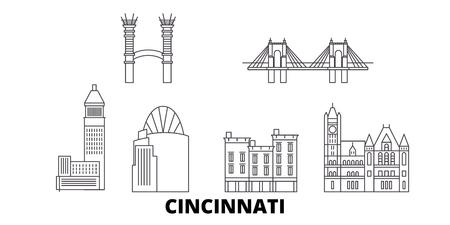 United States, Cincinnati line travel skyline set. United States, Cincinnati outline city vector panorama, illustration, travel sights, landmarks, streets. Illustration