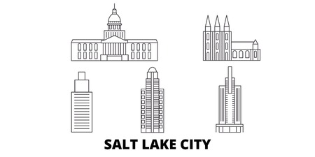 United States, Salt Lake City line travel skyline set. United States, Salt Lake City outline city vector panorama, illustration, travel sights, landmarks, streets.