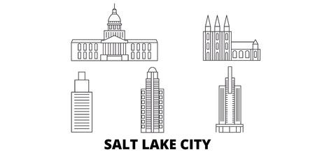 United States, Salt Lake City line travel skyline set. United States, Salt Lake City outline city vector panorama, illustration, travel sights, landmarks, streets.