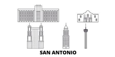 United States, San Antonio line travel skyline set. United States, San Antonio outline city vector panorama, illustration, travel sights, landmarks, streets.