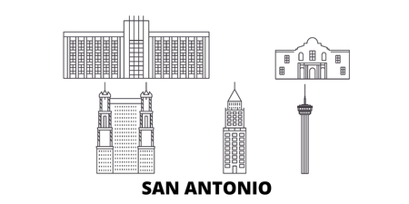 United States, San Antonio line travel skyline set. United States, San Antonio outline city vector panorama, illustration, travel sights, landmarks, streets.
