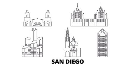 United States, San Diego line travel skyline set. United States, San Diego outline city vector panorama, illustration, travel sights, landmarks, streets.  イラスト・ベクター素材