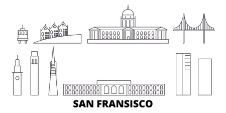 United States, San Francisco line travel skyline set. United States, San Francisco outline city vector panorama, illustration, travel sights, landmarks, streets. 写真素材 - 120319409